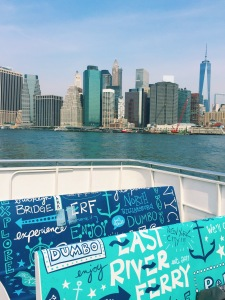 A different view of Manhattan, this time from the festive rear seats on the East River Ferry that can't help but remind you that you're on the East River Ferry